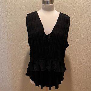 NWOT Anthropologie black layered sheer top Size XL